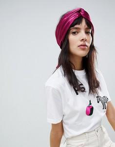 Черный платок на голову с перекрученной отделкой ASOS DESIGN - Розовый