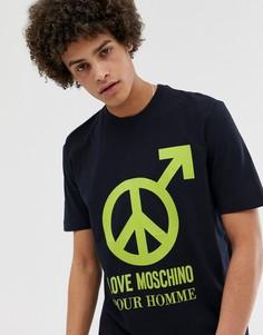 Футболка с принтом Love Moschino - Темно-синий