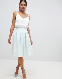 Короткая расклешенная юбка миди с плиссировкой Vesper - Синий