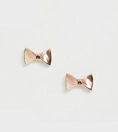 Серьги-гвоздики в виде бантов цвета розового золота Ted Baker - Золотой