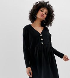 Свободное платье мини с V-образным вырезом и пуговицами из искусственного рога ASOS DESIGN Maternity - Черный