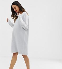 Трикотажное платье с V-образным вырезом и окантовкой ASOS DESIGN Maternity - Бежевый