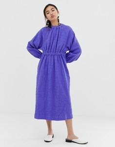 Фактурное платье со сборками ASOS WHITE - Фиолетовый