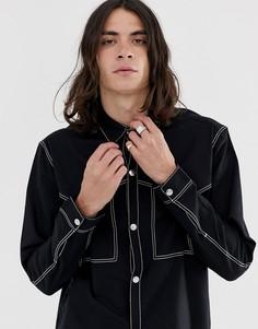 Черная рубашка в стиле вестерн Weekday Spinn - Черный