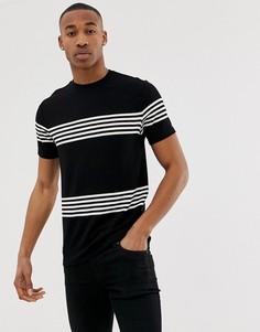 Черная футболка в светло-бежевую полоску River Island - Черный
