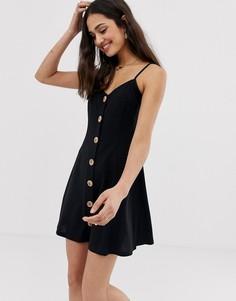 215236f3193 Меланжевое платье мини на тонких бретельках с пуговицами под дерево ASOS  DESIGN - Черный