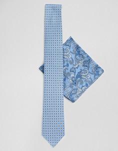 Синий галстук и платок для пиджака с цветочным принтом пейсли Twisted Tailor - Синий