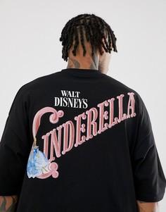 Oversize-футболка с надписью Cinderella на груди и спине ASOS DESIGN - Черный