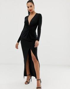 Платье макси с узелком Club L - Черный