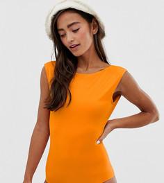 Слитный купальник горчичного цвета Monki - Оранжевый