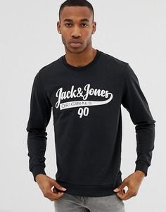 Свитшот с круглым вырезом и логотипом Jack & Jones originals - Черный
