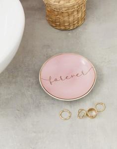 Розово-золотистое блюдце для украшений с надписью Forever Candlelight - Розовый