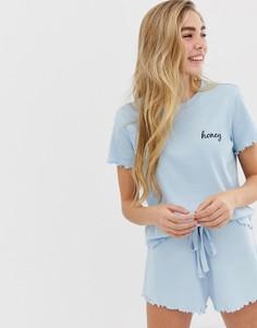 Комбинируемая пижамная футболка в рубчик с вышитой надписью honey и отделкой по краю ASOS DESIGN - Синий