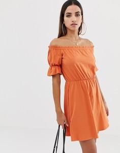 012c88f485b Платье мини с открытыми плечами и пышными рукавами ASOS DESIGN - Оранжевый  с рукавом фонарик.