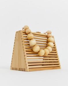 Треугольная сумка из бамбука со съемным ремешком через плечо с бусинами ASOS DESIGN - Коричневый