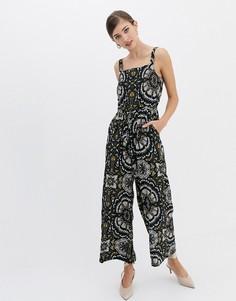 Комбинезон с широкими штанинами и цветочным принтом Closet - Мульти