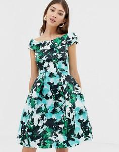Платье с открытыми плечами золотистого цвета Closet - Мульти