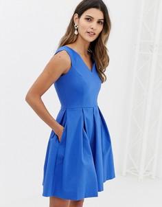 Платье с расклешенной юбкой и V-образным вырезом Closet - Синий