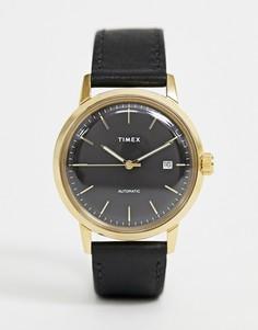 Часы с кожаным ремешком Timex Marlin automatic - Черный