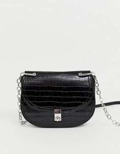 Черная сумка через плечо с эффектом крокодиловой кожи и цепочкой Stradivarius - Черный