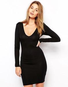 Облегающее платье с глубоким вырезом Club L Essentials - Черный