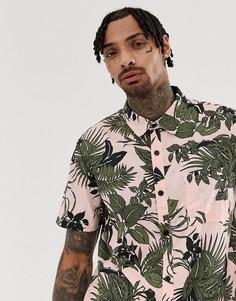 Свободная футболка с тропическим принтом и короткими рукавами Another Influence - Розовый