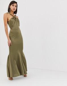 Платье макси с халтером и асимметричной юбкой ASOS DESIGN - Зеленый