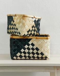 2 корзины для хранения с зигзагообразным принтом ASOS SUPPLY - Мульти