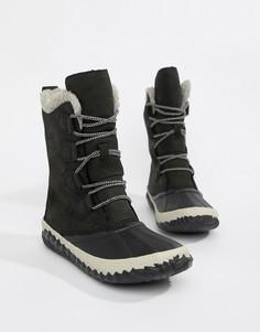 Черные водонепроницаемые кожаные ботинки Sorel Out N About Plus Tall - Черный
