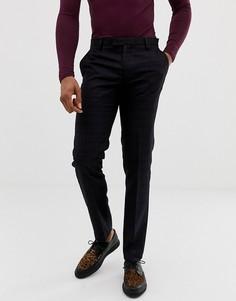 Облегающие брюки насыщенного бордового цвета в клетку Harry Brown - Синий