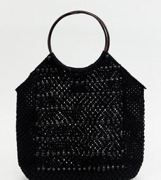 Пляжная сумка-тоут с отделкой бисером Accessorize Sophia - Черный