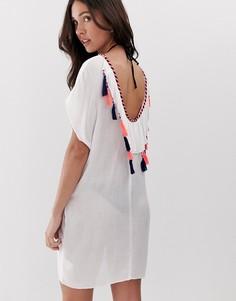 Пляжное платье с глубоким вырезом и кисточками Anmol - Белый