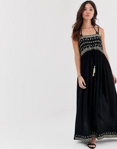 Платье макси с открытыми плечами и отделкой Anmol - Темно-синий