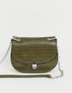 Зеленая сумка через плечо с эффектом крокодиловой кожи и цепочкой Stradivarius - Зеленый
