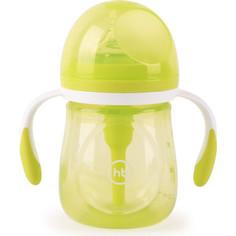Бутылочка Happy Baby антиколиковая с ручками и силиконовой соской 180 мл. 10019 LIME