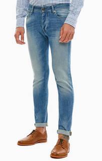 Синие зауженные джинсы с застежкой на болты United Colors of Benetton