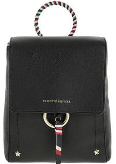 Маленький кожаный рюкзак с металлическим декором Tommy Hilfiger