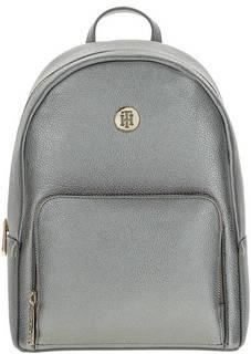 Серебристый городской рюкзак с тонкими лямками Tommy Hilfiger