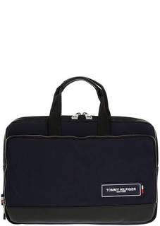 Синяя текстильная сумка с отделениями для ноутбука и планшета Tommy Hilfiger