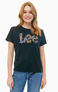 Черная хлопковая футболка с цветочным принтом Lee
