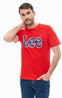 Хлопковая красная футболка с принтом Lee