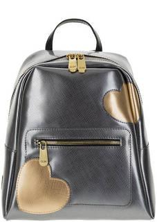 Рюкзак серебристого цвета с выделкой под рептилию GUM Gianni Chiarini Design