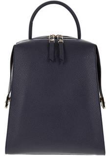 Синий кожаный рюкзак с широкими лямками Gironacci