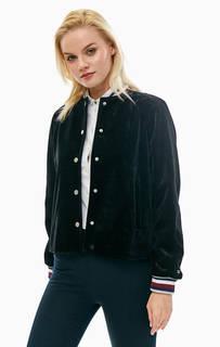 Черная бархатная куртка-бомбер на кнопках Tommy Hilfiger