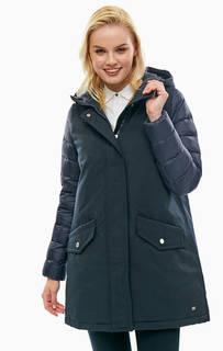 Удлиненная куртка синего цвета с капюшоном Tommy Hilfiger