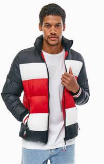 Трехцветная зимняя куртка-бомбер в полоску Tommy Hilfiger