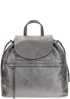 Серебристый кожаный рюкзак с откидным клапаном Gianni Chiarini