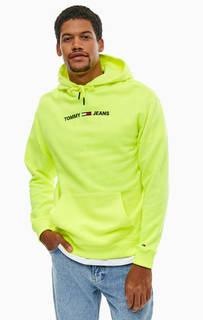 Ярко-желтая толстовка с карманом-кенгуру Tommy Jeans