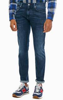 Зауженные синие джинсы с декоративными заломами Bleecker Tommy Hilfiger