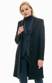 Черное шерстяное пальто в классическом стиле Tommy Hilfiger
